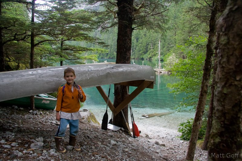Connor and Canoe at Medvejie Lake