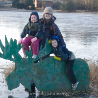 Family Picture on the Swan Lake Moose