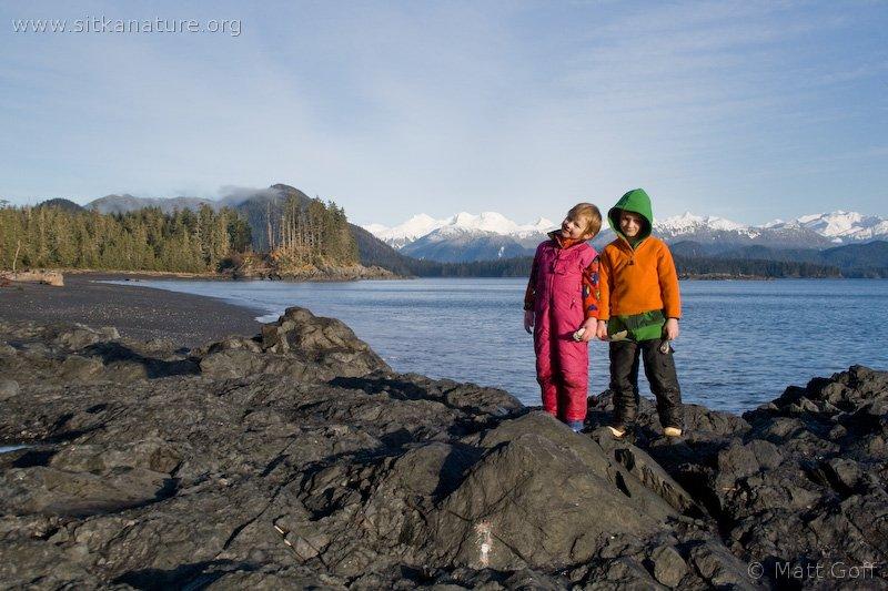 Connor and Rowan on Kamenoi Point Beach