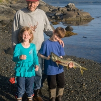 Grandpa and Grandkids with Catch