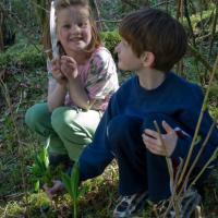 Connor and Rowan Collecting Wild Cucumber