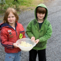 Connor and Rowan with Elderberry Flowers