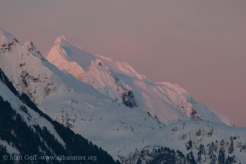 Sunset Light on Mountain Peaks