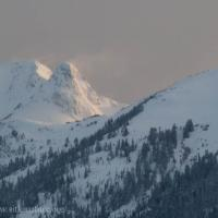 Twin Peak with Blowing Snow