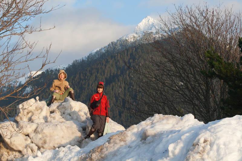 Connor and Rowan on Snow Bank
