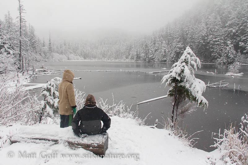 Connor and Rowan at Thimbleberry Lake Bench