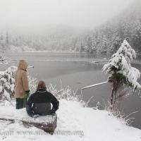 Connor and Rowan at Thimbleberry Lake Bench