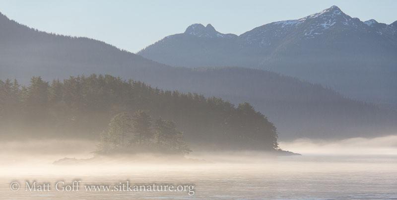 Lingering fog on Jamestown Bay
