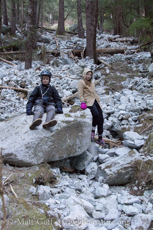 Connor and Rowan Rest on Rock Wash