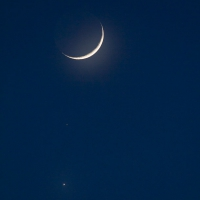 Crescent Moon, Mars, and Venus