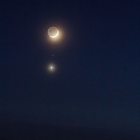 Crescent Moon, Mars, and Venus